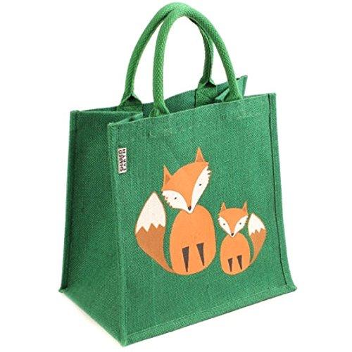 Jute Tasche Fairtrade-Einkaufstasche, Grün - Foxes - Größe: Medium -