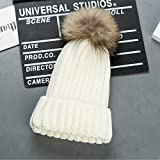 Cappello Bambino Invernale Beanie Cappelli di Lana Berretto con Pon Pon da Pingenaneer (Bianco)