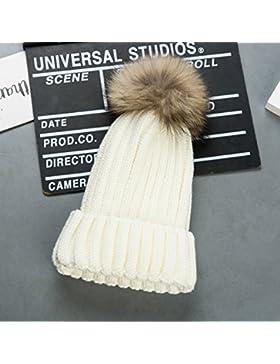 Cappello Invernale Donna Beanie Cappelli di Lana con Pon Pon Berretti da Pingenaneer (Bianco)