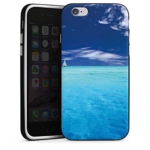 Apple iPhone X Silikon Hülle Case Schutzhülle Karibik Meer Segelboot Silikon Case schwarz / weiß