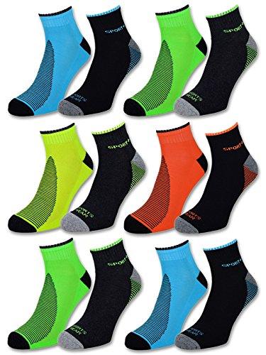4 | 8 | 12 Paar NEON Sportsocken Sneaker Socken Herren mit verstärkter Frotteesohle - 16209 (39-42, 12 Paar | Farbmix)