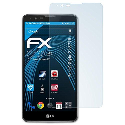 atFolix Schutzfolie kompatibel mit LG Stylo 2 LS775 Folie, ultraklare FX Displayschutzfolie (3X)