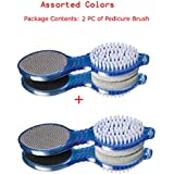 Ramanta 4 in 1 Foot File with Pedicure and Manicure Brushes, Assorted Colors - Pack of 2 PCs