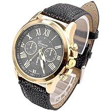 Valentinstag Uhren DELLIN Neue Damenmode Genf römischen Ziffern Kunstleder analoge Quarz-Armbanduhr (Schwarz)