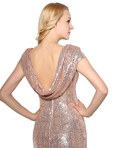 Sarahbridal Damen A-Linie Kleid Gold