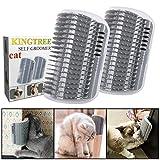 Kingtree 2pz Cat Self Groomer, Cats Corner massaggiatore Strumento Perfetto per spazzolare Groomer Pettine di Massaggio a Parete e Lunga e Corta Pelliccia Kitten Puppy-Grigio