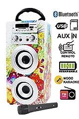 Idea Regalo - DYNASONIC Mod025 altoparlante Bluetooth – Karaoke di motivo con microfono (Modello 1)