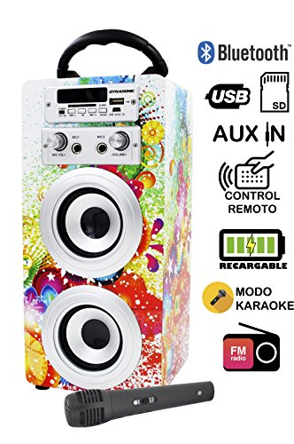 DYNASONIC Altavoz Karaoke Bluetooth 10W, Reproductor mp3 inalámbrico Portátil, Lector USB SD, Radio FM - Modelo 1