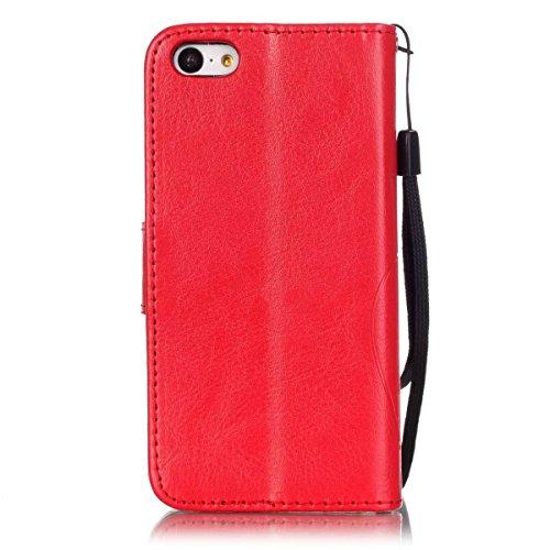 iPhone Case Cover Étui IPhone 5C, peint motif de couleur Wallet Style Case Magnétique Design Flip Folio PU Housse en cuir Housse Standup Cover pour IPhone 5C ( Color : Brown , Size : IPhone 5C ) Red