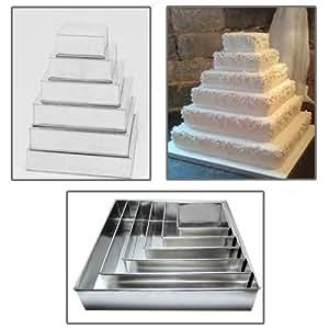 6étages carré moules à gâteau d'Anniversaire de Mariage Anniversaire multicouche