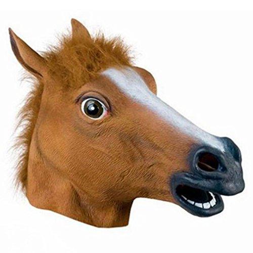 Preisvergleich Produktbild OCDAY Pferdemaske Latex für Erwachsene Halloween Weihnachten Kleid Party Karneval Maske Tiermaske Pferdekopf Pferd Kostüm Braun