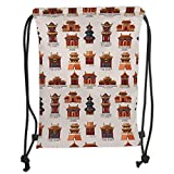Drawstring Backpacks Bags,Ancient China Decorations,Cartoon Style Antique Houses Pattern Ethnic Asian Design Elements,Multicolor Soft Satin,5 Liter Capacity,Adjustable String Closu