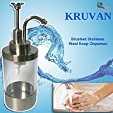 Stainless Steel Liquid Soap Dispenser Pump - Brushed Finish - Durable And Rust Free - Clear - Easily Filled - Manual Pump For Kitchen, Bathroom And Shower - KruVan - Hand Cleaning In Style - Great as Gifts
