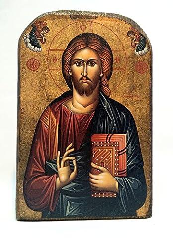 Handmade Wooden Greek Christian Orthodox Mount Athos Icon of Jesus