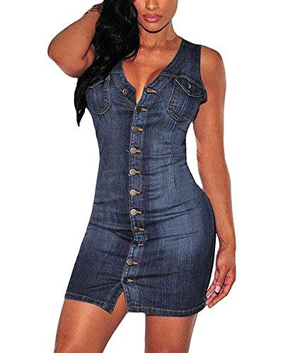 Minetom Damen Sommer Sexy Bodycorn Jeanskleid mit Knopf Ärmelloses Denim Blau Mini Kleid Vintage Tasche Kurz Dress Blau DE 38 Sexy Blau Denim