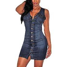 f406d7c985de10 Minetom Donna Estate Classico V-collo Pulsante Dress Senza Manica  Slim-fitted Camicia Jeans