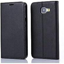 ELTD Galaxy A5 2016 flip cover, PU-leather flip cover Etui Housse Coque Portefeuille pour Samsung Galaxy A5 2016 5.2, Noir
