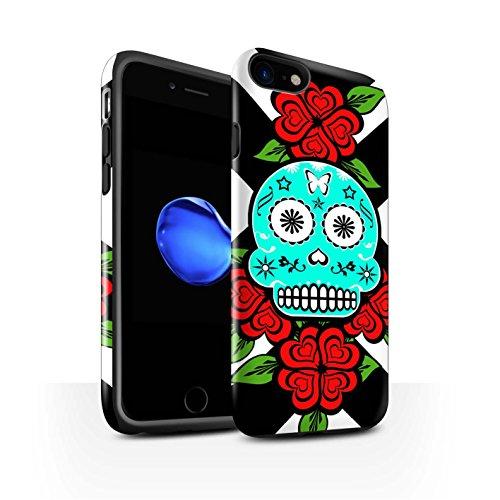 STUFF4 Glanz Harten Stoßfest Hülle / Case für Apple iPhone 8 / Schwarz Muster / Süßigkeiten Schädel Kollektion Türkis/Rose
