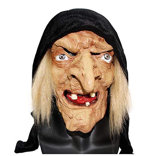 JASNO Neuheit Latex Rubber Creepy Horror Hexe Maske Gesicht Schrecklich Für Halloween Kostüm Party (Gesicht Für Bemalen Hexe Halloween)