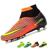 LANSEYAOJI Chaussures de Football Garçon Homme High Top Chaussures de Foot Crampons en Microfibres Enfant Adolescents Adulte Profession Athlétisme Entrainement Chaussures de Sport,Orange,EU38
