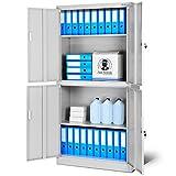 Aktenschrank C004 Büroschrank mit 2 Abteilen, abschließbar, Stahlblech, Flügeltüren, Pulverbeschichtung 185 cm x 90 cm x 40 cm (grau/grau)