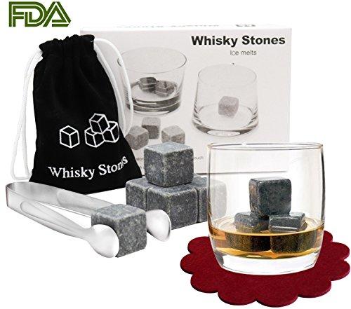 Whisky Steine,【Zwei Stück Red Untersetzer und Eine Pinzette aus Edelstahl】PEMOTech® 9 Stück von besten Granit-Drink-Rocks Whiskey Stone Eiswürfel Ice Cube Set,Verpackt in Samt-Tasche ,Perfektes Set