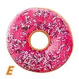 JIANGFU Donut/Kissen/Kissenbezug, Weichem Plüsch Kissen Gefüllte Sitzkissen Süße Donut Lebensmittel Kissenbezug Fall Spielzeug (E)
