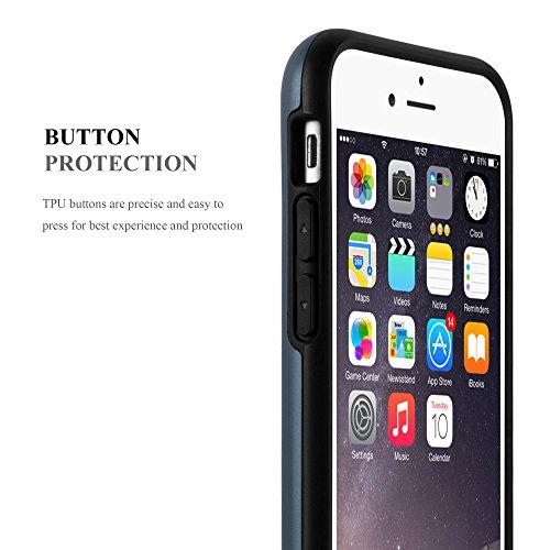 Apple iPhone 6 / 6S Hybrid Hülle in SILBER von Cadorabo - Hard Case TPU Silikon Schutz-hülle Heavy Duty Outdoor Design – Handy-hülle Bumper Case Cover mit Karten-Fach ARMOR-DUNKEL-BLAU