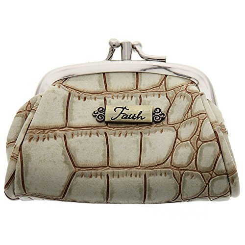 Croc-Embossed Coin Purse w/Faith Badge - Croc Embossed Wallet