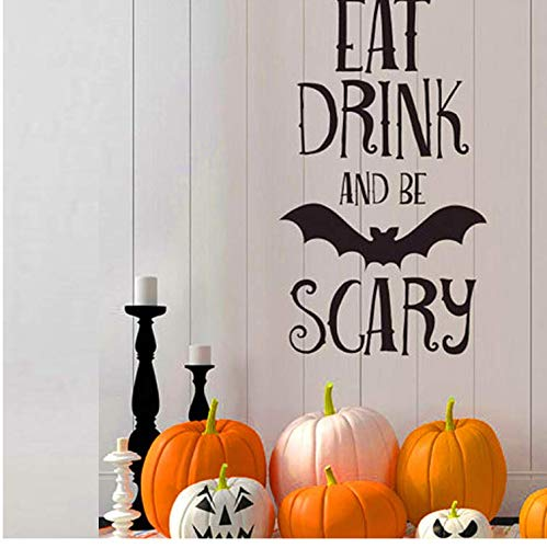 Liushop Eat Drink Be Scary Quotes Wall Sticker Halloween Party Decals Home Room Decoration Removable DIY Wall Sticker