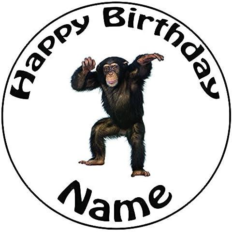 Personalizzabile Scimmia–Topper per torta a pre-cut rotondo 8