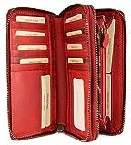 Hill Burry hochwertige XXL Vintage Leder Damen Geldbörse Portemonnaie langes Portmonee Geldbeutel Organizer aus weichem Leder mit extra vielen Fächern in rot - 20x11x3,5cm (B x H x T)
