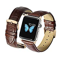 iStrap Alligator Grain Leather 42mm Apple Watch Strap Rose Gold Clasp Replacement For 42mm Apple iWatch Bracelet Brown