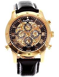 Lindberg & Sons SK14H008 - Reloj análogico para hombre de pulsera (esqueleto automático), correa de cuero negra
