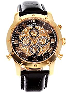 Lindberg&Sons - SK14H008 - wrist watch for men - skeleton - automatic movement - analog display - black leather...