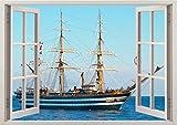 3D-Wandbild Geöffnetes Fenster - großformatig aus hochwertigem Vinyl - wiederverwendbar - Poster Blick aus dem Fenster - Wandtattoo Badezimmer - Fototapete Wandsticker Meer Seeschiff 85 x 115 cm
