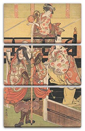 Printed Paintings Leinwand 3-teilig(80x120cm): Torii Kiyonaga - auf Einem Balkon Sitzt Eine Frau,
