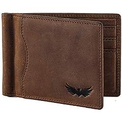 Bolso de hombre de piel de búfalo de SEMLIMIT - incluye monedero y pinza para billetes en piel de primera calidad para hombre - Protección RFID/NFC   Libro electrónico gratuito