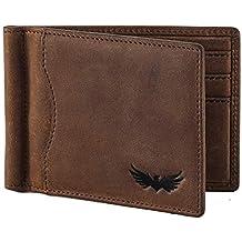a7aca6a2f606b SEMLIMIT Geldbörse Herren in Echtleder - inkl. Münzfach und Geldklammer -  RFID NFC Schutz