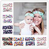 YuFLangel Kinder elastische Blume Eltern-Kind-Elastikband. Erwachsene Kinder verknoteten Kopf mit Ohren Drucken Stirnband mit 2 Sets (6 Stück). Mädchen Baby Hearwear Dekor