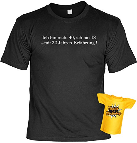 Geburtstags-Fun-Shirt-Set inkl. Mini-Shirt/Flaschendeko: Ich bin nicht 40, ich bin 18...mit 22 Jahren Erfahrung! Schwarz