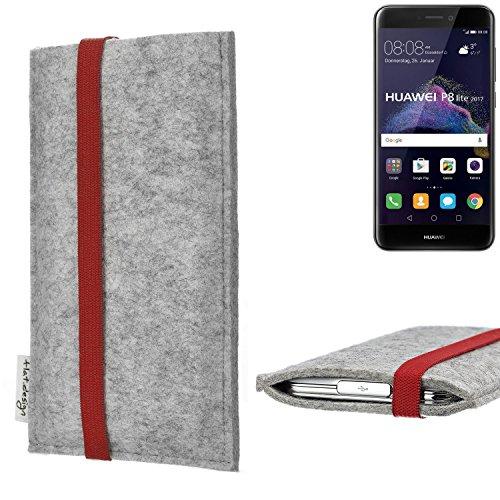 flat.design Handy Hülle Coimbra für Huawei P8 Lite 2017 Dual SIM individualisierbare Handytasche Filz Tasche rot grau