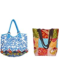 Indistar Combo Pack Of 1 Cotton Kantha Tote Bag And 1 Cotton Shopper Bag (Pack Of 2) - B076T7CSM4