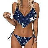 NPRADLA Damen Mädchen Bedruckter Fleischrosa Kleiner Badeanzug-Bikini Mit Hoher Taille
