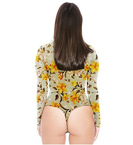 Swallowuk Donna Sexy Manica Lunga Camicia Moda Stampa Slim Fit T-shirt Jumpsuits (M, 8) 7