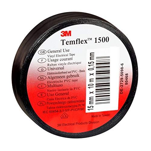 3M TSCH1925 Temflex 1500 Vinyl Elektro-Isolierband, 19 mm x 25 m, 0,15 mm, Schwarz