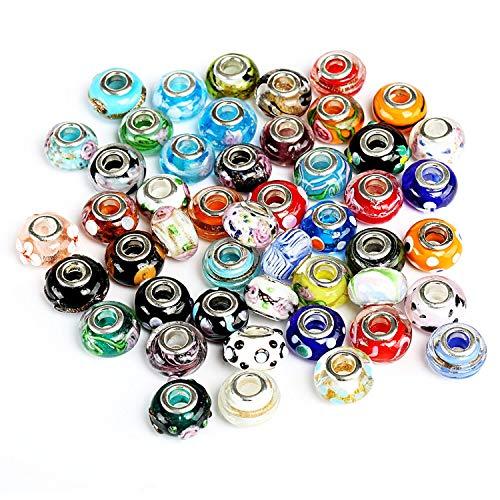 Naler 50 x European Beads Glasperlen Charms Muranoglas Perlen für Schmuck Armbänder Ketten