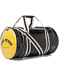 Fred Perry Classic Barrel Sac l4305dans noir/jaune/280