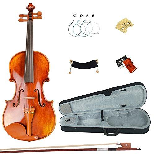 Esound 1/2 ML0041 Handgemacht Massivholz Natürliches Korn Violine mit Hartschalenkoffer, Schulterstütze, Bogen, Kolophonium und Zusätzliche Saiten (112 Natürliche)