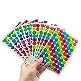 Natuce 10 Foglio 800 Pz Smiley Happy Face Stickers e Cuore Stickers per Insegnanti, Genitori Bambini Craft Scrap Books Decorazione, Multi Colore(Lo Schema Adesivo è Casuale)
